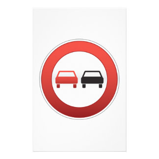 No passing road sign stationery paper