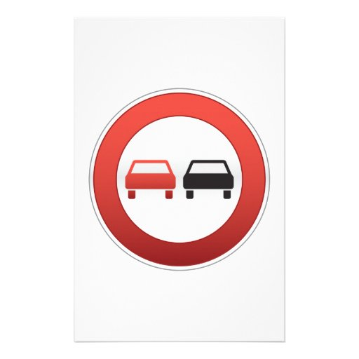 No passing sign stationery