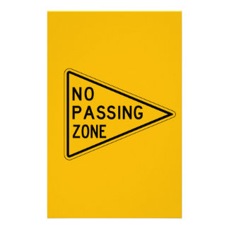 No Passing Zone, Traffic Warning Sign, USA Personalized Stationery