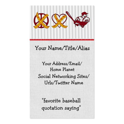 No Peace No Love Just Baseball Business Card Template