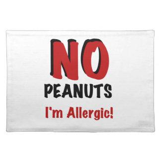 NO Peanuts I'm Allergic Placemat