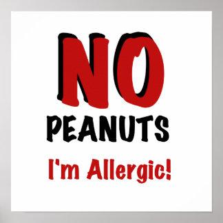 NO Peanuts I'm Allergic Poster