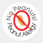 No Peanuts Peanut Allergy Designs Classic Round Sticker