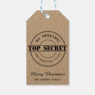 No Peeking top secret Christmas gift tag