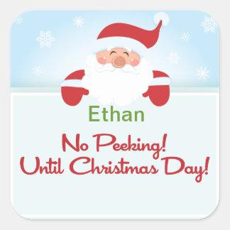 No Peeking until Christmas Santa Gift tag Sticker