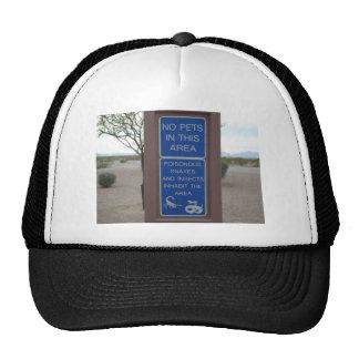 No Pets Desert Warning Sign Mesh Hats