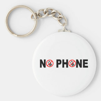 No Phone Basic Round Button Key Ring