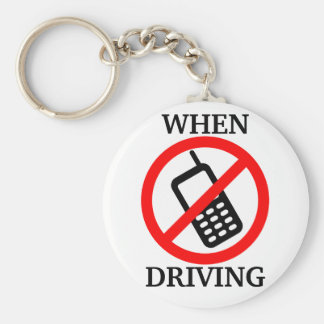No Phone When Driving Basic Round Button Key Ring