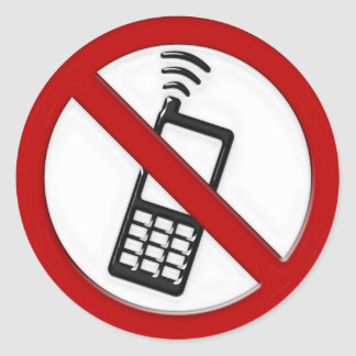 NO PHONE ZONE Sign Classic Round Sticker