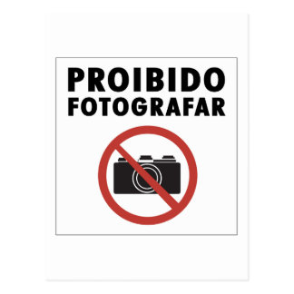No Pictures Allowed Sign, Brazil Postcard