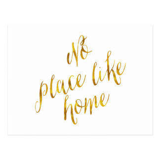 No Place Like Home Quote Faux Gold Foil Metallic Postcard