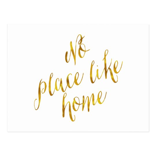 No Place Like Home Quote Faux Gold Foil