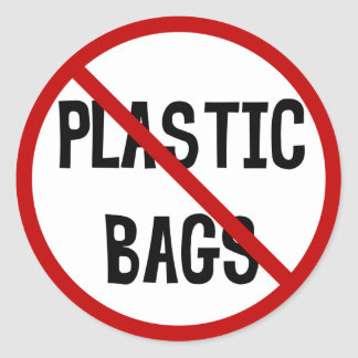 No Plastic Bags Sticker
