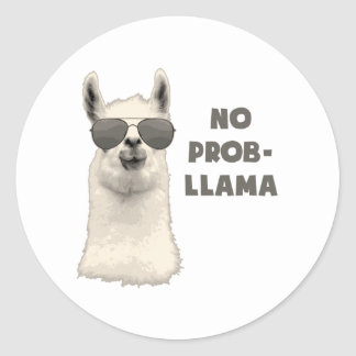 No Problem Llama Classic Round Sticker