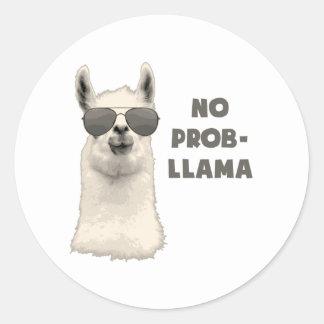 No Problem Llama Round Sticker