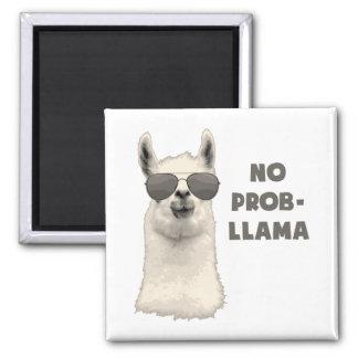 No Problem Llama Square Magnet