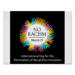 No racism graphic with colourful hands poster