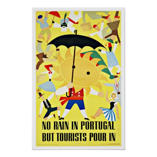 No Rain in Portugal Vintage Travel Poster