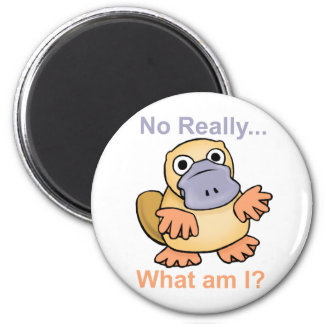 No Really... What am I? Platypus 6 Cm Round Magnet