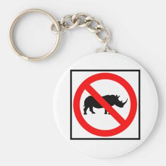 No Rhinoceros Highway Sign Key Ring