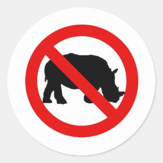 No Rhinos Allowed Round Sticker