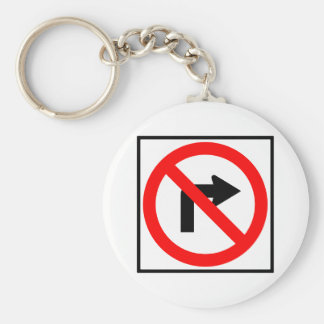 No Right Turn Highway Sign Basic Round Button Key Ring