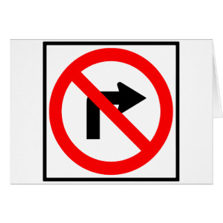 No Right Turn Highway Sign Card