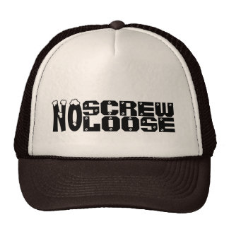 No Screw Loose Customized Black and White Male Hat