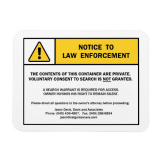 """No Search Without A Warrant"" magnet sign (for CA)"