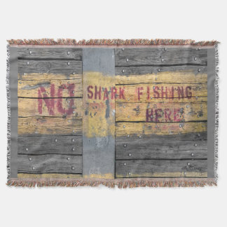 No shark fishing rustic typography quote throw