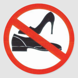 No shoes onboard. classic round sticker