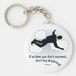 No Skydiving Basic Round Button Key Ring