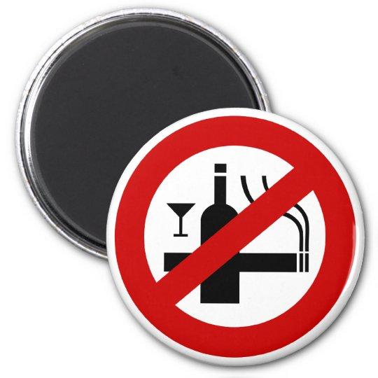 NO Smoking Alcohol ⚠ Thai Sign ⚠ 6 Cm Round Magnet