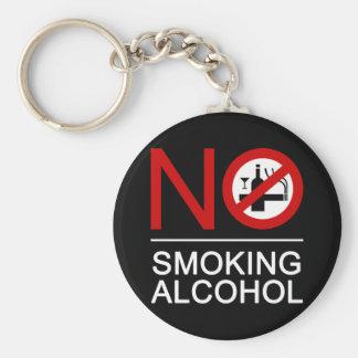NO Smoking Alcohol ⚠ Thai Sign ⚠ Basic Round Button Key Ring