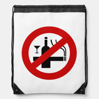 NO Smoking Alcohol ⚠ Thai Sign ⚠ Drawstring Bag