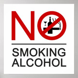NO Smoking Alcohol ⚠ Thai Sign ⚠ Poster