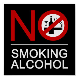 NO Smoking Alcohol ⚠ Thai Sign ⚠ Poster