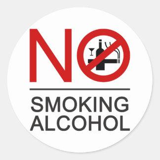 NO Smoking Alcohol ⚠ Thai Sign ⚠ Round Sticker