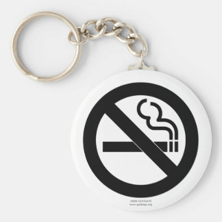 No Smoking Basic Round Button Key Ring