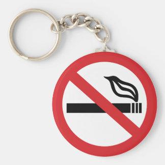 No Smoking Basic Round Button Key Ring