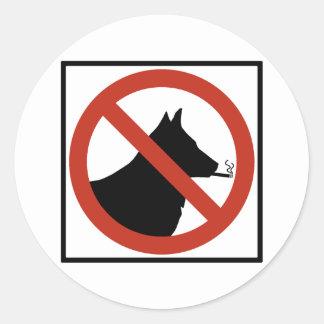 No Smoking Dogs Allowed Highway Sign Round Sticker