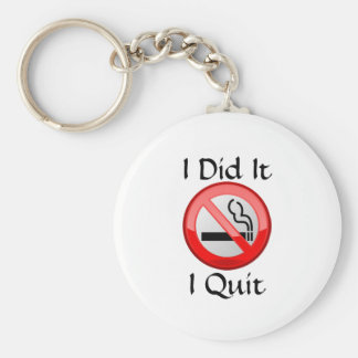 No Smoking I Quit Basic Round Button Key Ring
