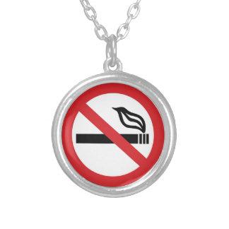 No Smoking Round Pendant Necklace