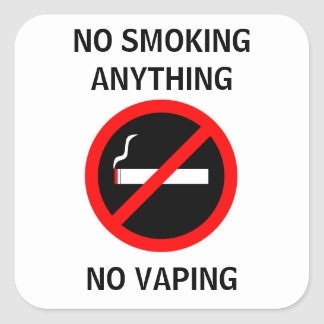 NO SMOKING NO VAPING SIGN SQUARE STICKER