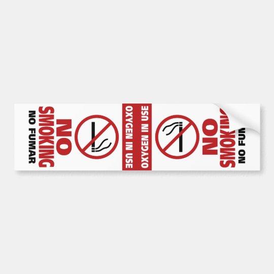 No Smoking - Oxygen in Use - No Fumar Bumper Sticker