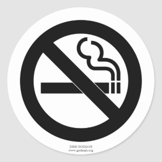No Smoking Round Sticker