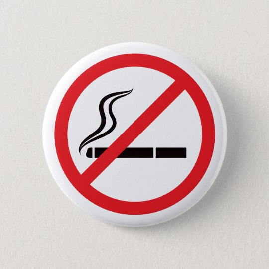 No smoking sign with black cigarette symbol button