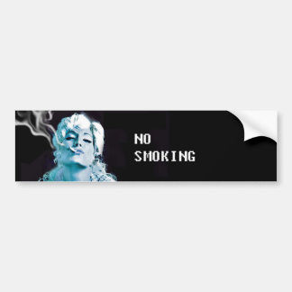 no smoking, smoking, blue smoke, beautiful girl car bumper sticker