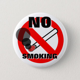 No Smoking Warning Sign 6 Cm Round Badge