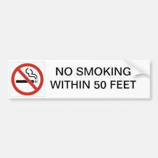 NO SMOKING WITHIN 50 FEET CAR BUMPER STICKER